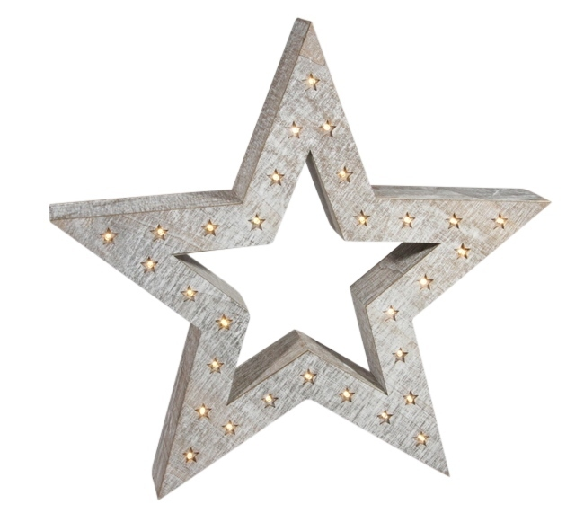 Led holz stern mit stern design o 50cm 30 led lampchen for Markise balkon mit sterne tapete die leuchtet