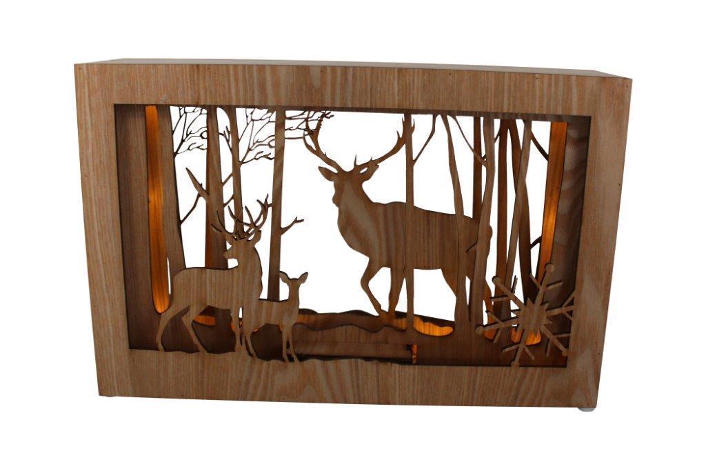 led diorama holz bild mit hirsch design l 28cm h 10 led l mpchen. Black Bedroom Furniture Sets. Home Design Ideas