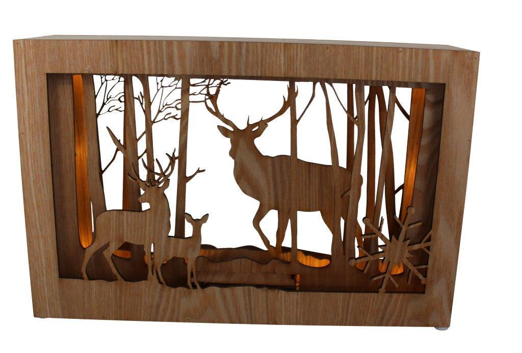 led diorama holz bild mit hirsch design b 37 h 24cm. Black Bedroom Furniture Sets. Home Design Ideas