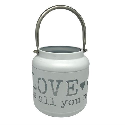 Laterne aus Metall weiss H: 13cm - Schriftzug: Love is all you need