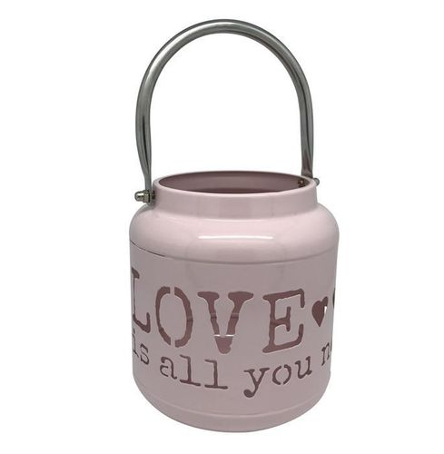 Laterne aus Metall pink H: 13cm - Schriftzug: Love is all you need