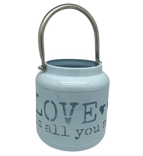 Laterne aus Metall blau H: 13cm - Schriftzug: Love is all you need
