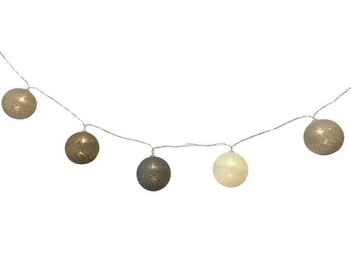 "LED Lichterkette ""Cotton Balls"" beige mit 10 LED - D: 6cm L: 165cm"