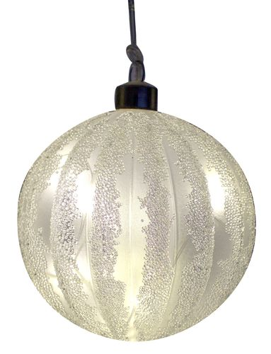 LED Glas Ball Frosty Ornament D:10cm