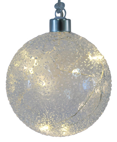 LED Glas Ball Ornament Frosty D: 10cm mit 10 LED